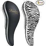 BOMBEX Detangler Brush - No Tangles & Knots, Best Detangling Brush for Tangled Hair,Set of 2, Zebra & Matte Black