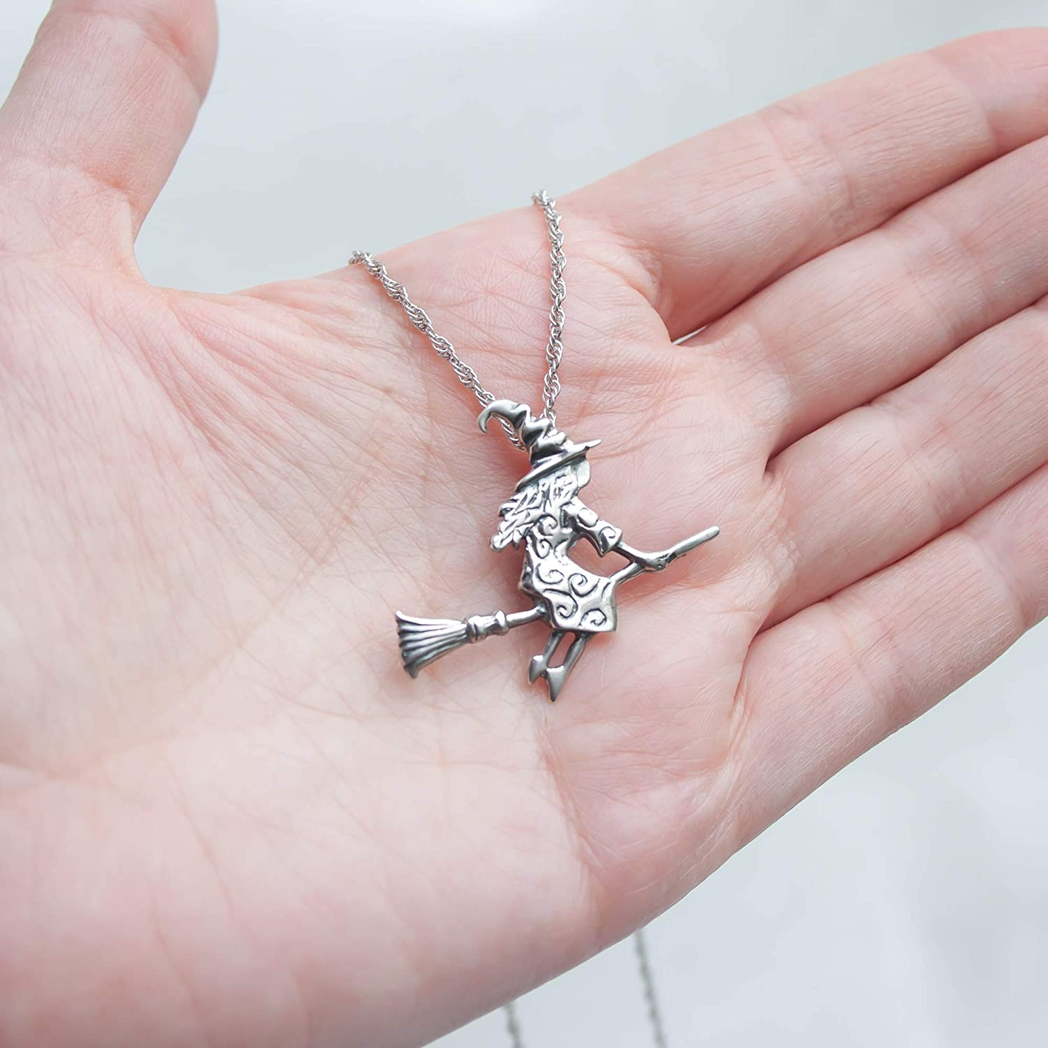 Witch on the broomstick necklace Witchcraft pendant #255 Gothic choker Magick jewelry