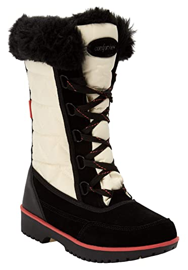 26750eb0ccf3d Amazon.com   Comfortview Women's Plus Size The Eileen Waterproof Wide Calf  Boot - Bone Coral Multi, 7 M   Boots