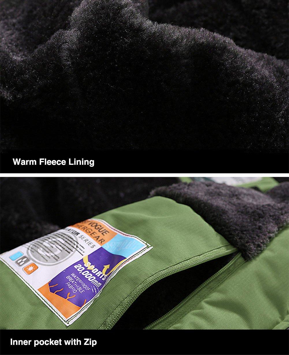 TACVASEN Impermeabile Giacca da Montagna in Pile da Uomo Giacca da Sci Calda Multi-Tasche