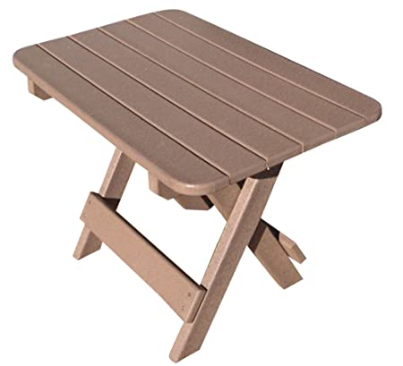 Phat Tommy Recycled Poly Resin Folding Side Table Durable Eco-Friendly Patio Furniture matches Adirondack, Weatherwood
