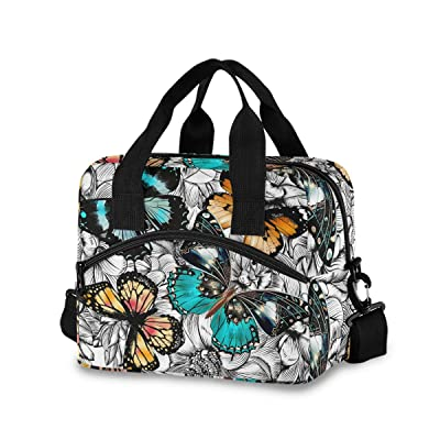 Butterflies Lunch Bag for Women Men Insulated Lunch Box Tote Bag with Detachable Shoulder Strap & Carry Handle, Reusable Cooler Bag for Work School Picnic: Kitchen & Dining