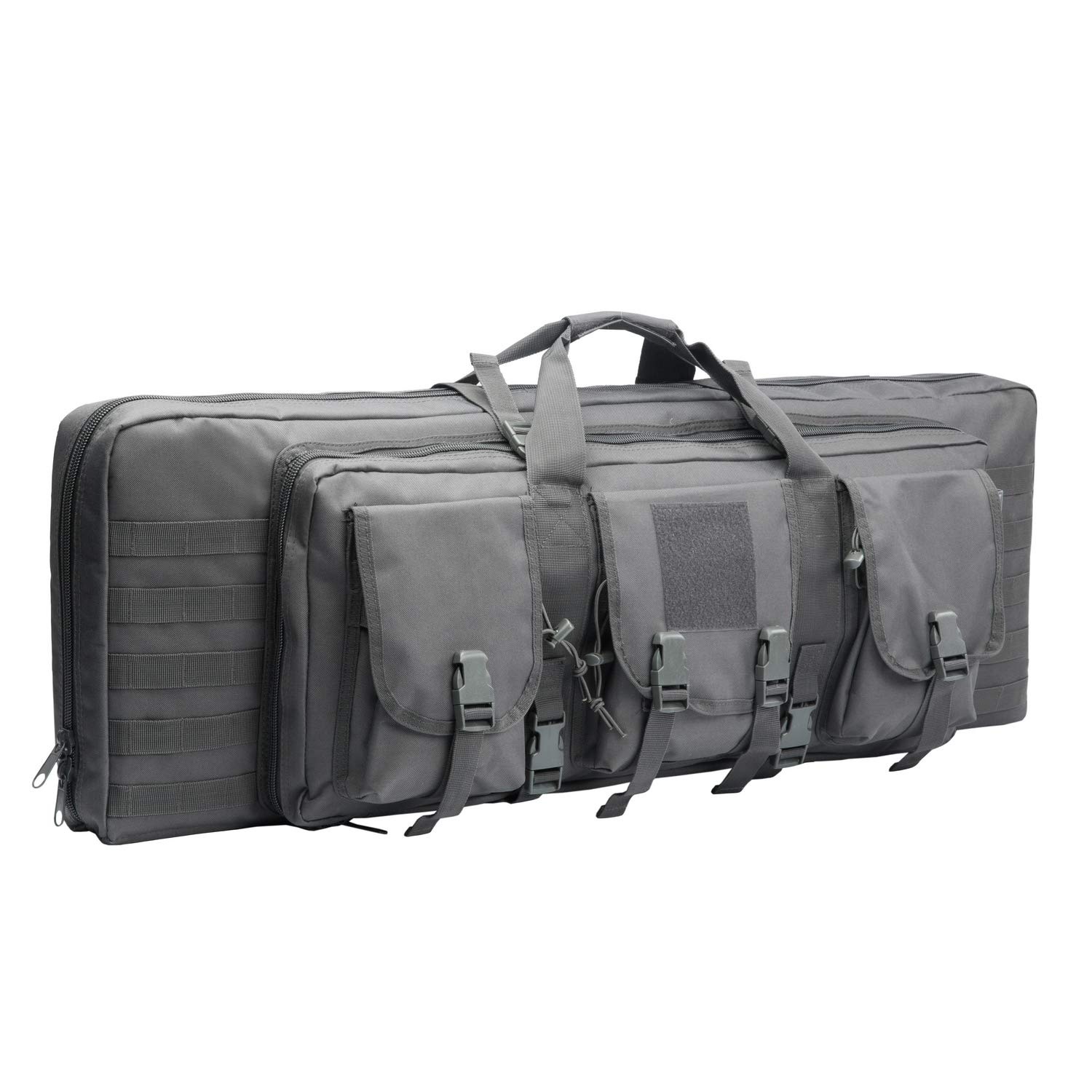 WolfWarriorX Double Long Rifle Gun Case Bag Tactical Carbine Cases Water Dust Resistant Firearm Shotgun Bag Outdoor MOLLE Hunting Shooting Storage Transport, Available in 38'' 42'' (Gray, 42inch) by WolfWarriorX