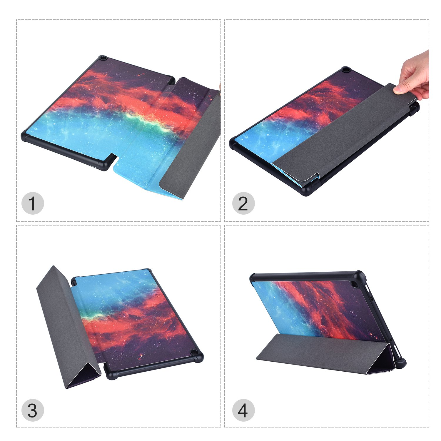 Dopup Fire 10 Case for All-New Fire HD 10 Tablet (7th Generation, 2017 Release),Protective Standing Cover with Auto Wake/Sleep Function (Galaxy)