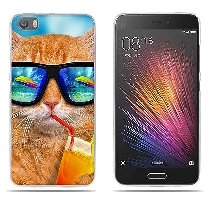FUBAODA Funda Carcasa para Xiaomi Mi5, Dibujo con Estilo[Beber Gato] Carcasa Protectora de Goma de Altisima Calidad para Xiaomi Mi5 (5.15