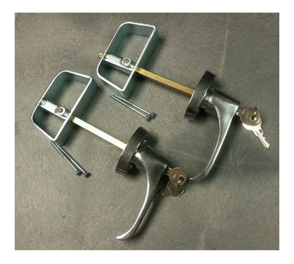 5-1/2'' Chrome L Handle Door Lock Set - For shed, gate, playhouse - 2 KEYED ALIKE