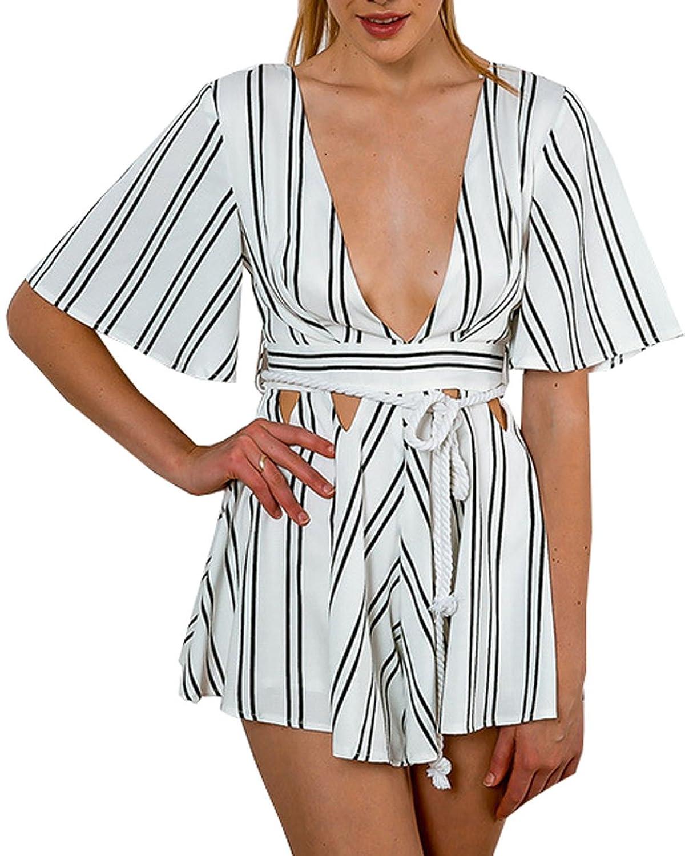 Women's White Stripe Short Sleeve Deep V Romper Jumpsuit