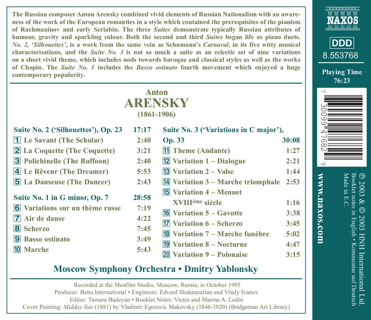 Amazon.com: Arensky: Three Suites, Basso Ostinato ...