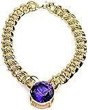 Collier de ton or à pendentif de grosse pierre de Strass taillée ronde de couleur bleue, chaîne à maillons l.20 mm L.45,7 cm