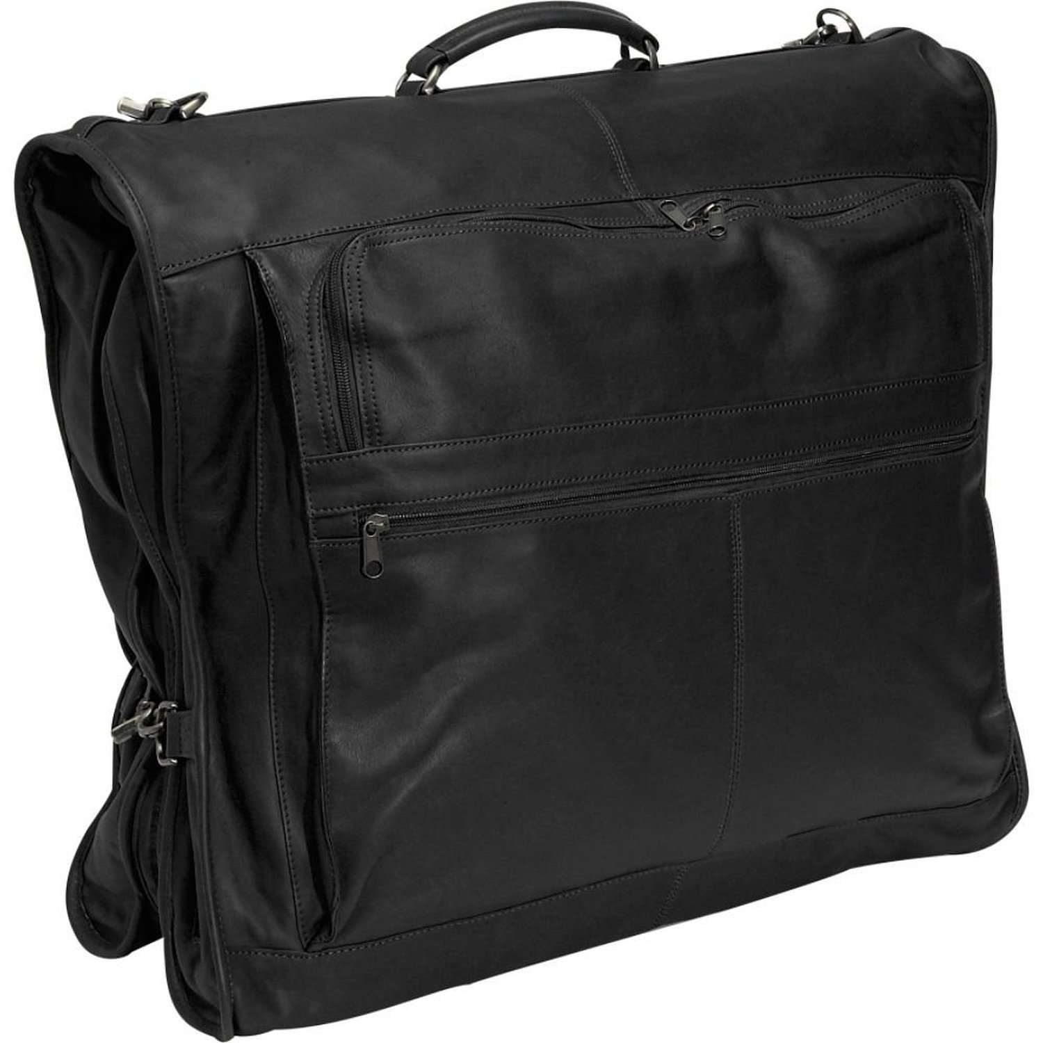 Royce Leather 'Fletcher' Carry-On All Leather Suiter (659-BLACK-3)