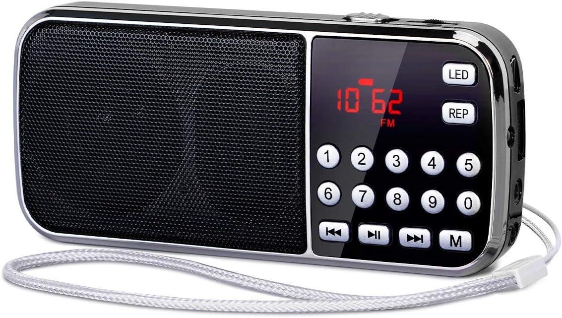 [Actualizado] PRUNUS J-189 Am/FM Radio Portatil Pequeña, Radio Bluetooth con Doble de Altavoces Graves Profundos, Reproductor de TF/USB/AUX / MP3, Linterna LED, con Pilas Recargables (Negro)