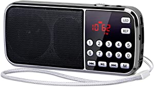PRUNUS J-189 Portable Radio AM FM Small Bluetooth Radio - Dual Speaker Heavy Bass, LED Flashlight, Pocket Size, TF Card USB AUX MP3 Player, Rechargeable Battery Operated