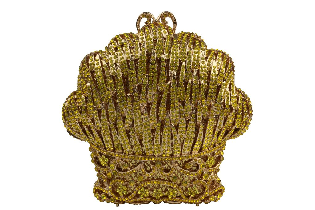 YILONGSHENG Flower Style Crystal Evening Handbags EB0822 Lemon&yellow