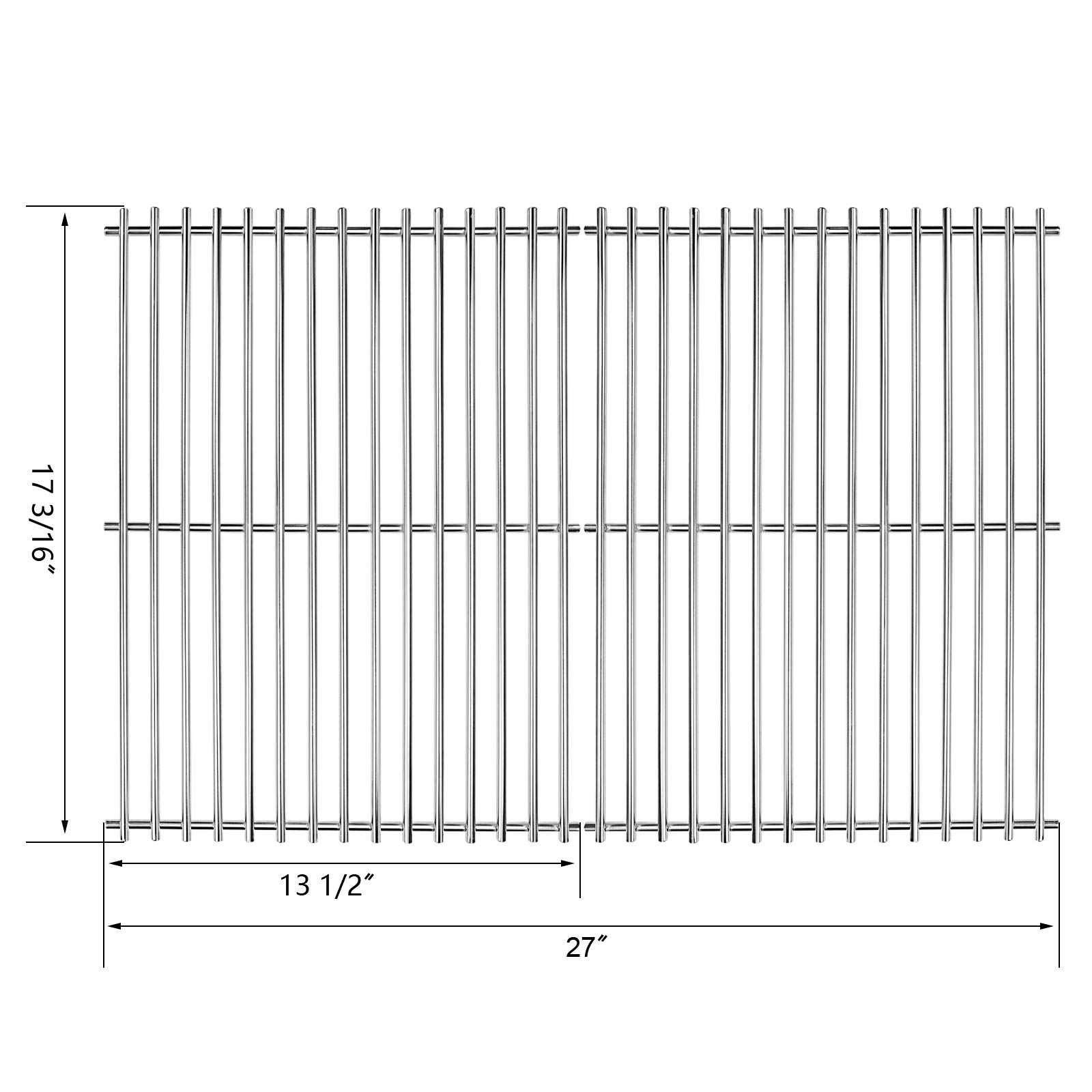 Hisencn Stainless Steel Solid Rod Cooking Grates Replacement Parts for Sunbeam, Grill Master 720-0697, Nexgrill 720-0697E, Uniflame GBC091W Gas Grill Models, Grill Cooking Grid Set of 2, 17 3/16 inch by Hisencn