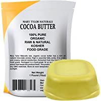 Mary Tylor Naturals Organic Cocoa Butter Large 1 lb Bar, Raw Unrefined Food Grade, Non-Deodorized, Rich In Antioxidants Great For DIY Recipes, Lip Balms, Lotions, Creams, Stretch Marks