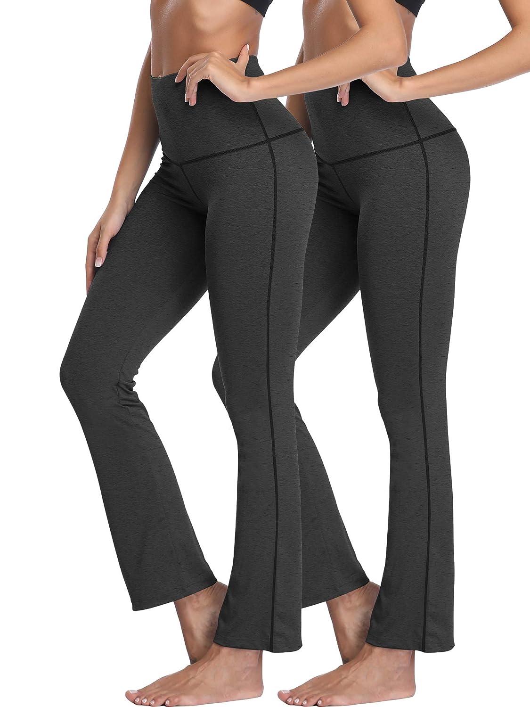 105  Black Black, 2 Pack Neleus High Waist Running Workout Leggings for Yoga with Pockets
