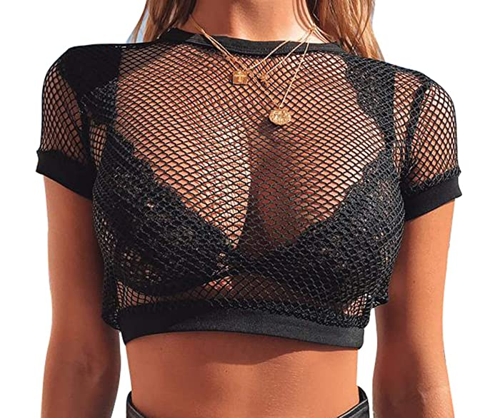 7d21861fad Women One Piece See-Through Fishnet Crop Top Lady Solid Black Round Neck Short  Sleeve Mesh Bikini Cover Ups at Amazon Women's Clothing store: