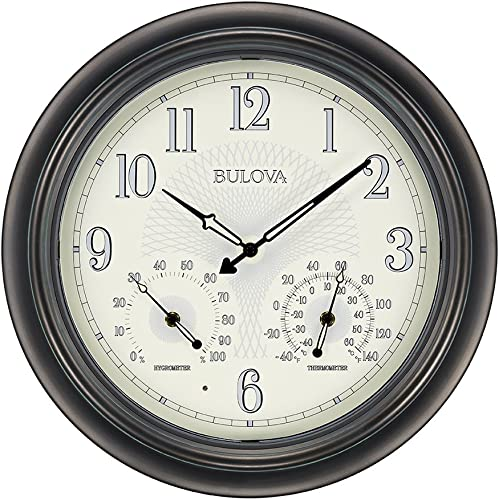 Bulova C4813 Weather Master Wall Clock, 18 , Black