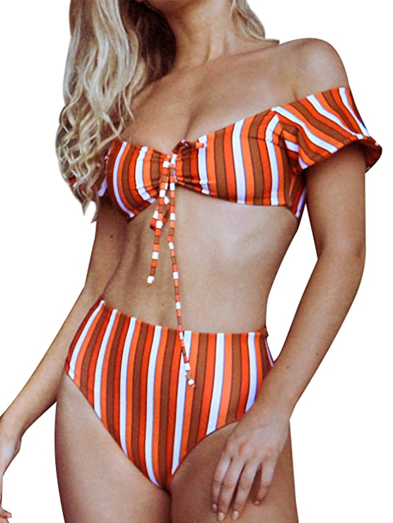 Bikinx Women's Ruffle Off Shoulder Bikini Set 2 Piece High Waist Padded Swimsuit