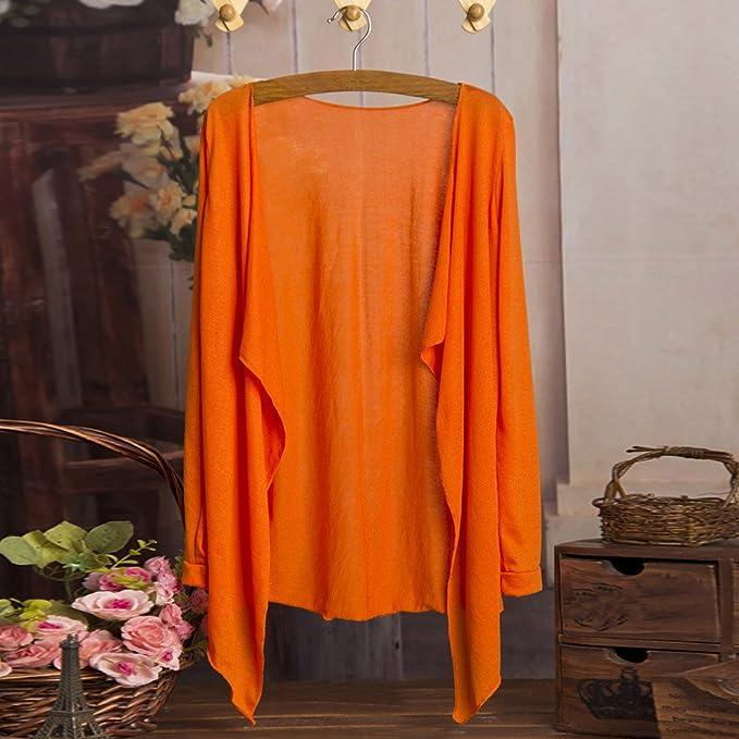 SHOBDW Las Mujeres del Verano de la Manera Sexy Largo Fino Cardigan algodón Mezclado Modal protección Solar Tops Ropa Camisa (Un tamaño, Amarillo): ...