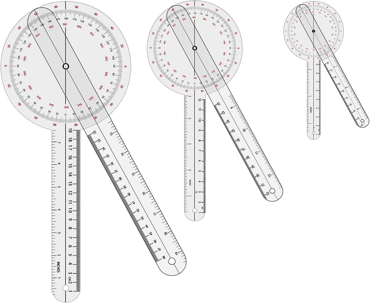 "Goniometer Set 2-3 Pieces 12"", 8"", 6""/ 360 Degree"