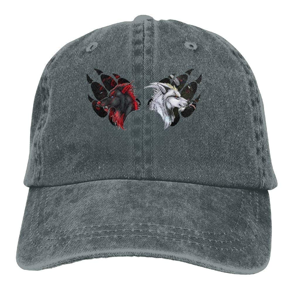 JTRVW Red Wolf and White Wolf in Claws Denim Hat Women Great Baseball Hats