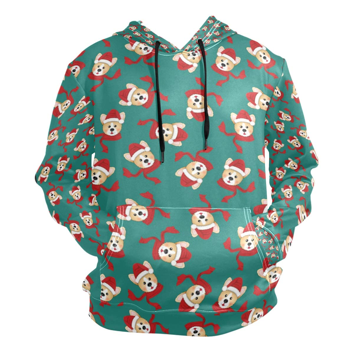 Mens Hooded Sweatshirt Corgi Santa-Claus with Red Scarf Green Pullover Fashion Hoodie Sweater