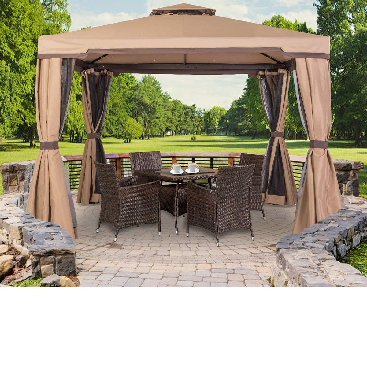 SUNCROWN Outdoor Patio Garden Gazebo 10 x 10 FT All-Season Permanent Gazebo with Vented Soft Canopy, Double Square Tops and Mosquito Netting- Beige, Front Porch, Sand