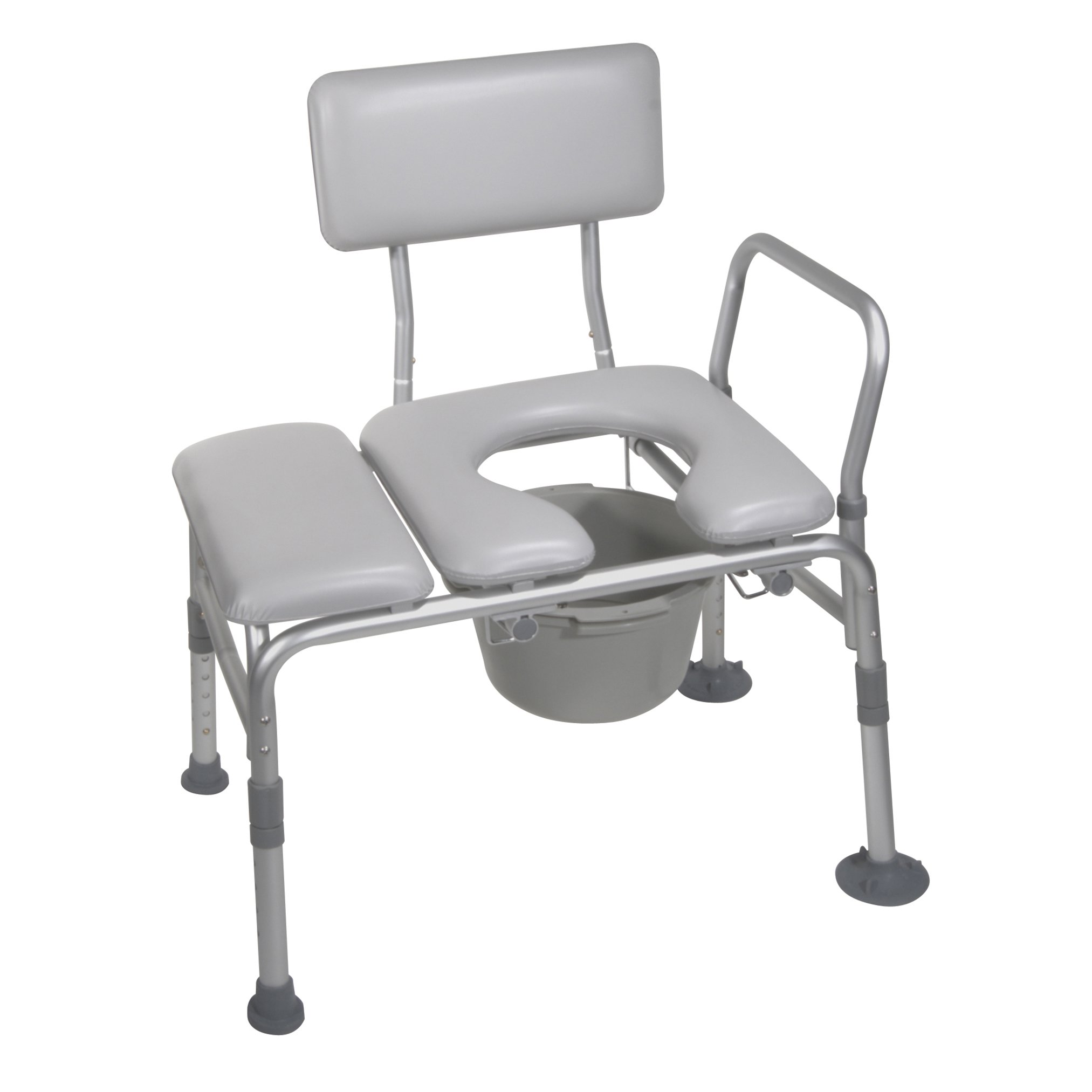 Drive Medical Combination Padded Seat Transfer Bench with Commode Opening, Gray by Drive Medical