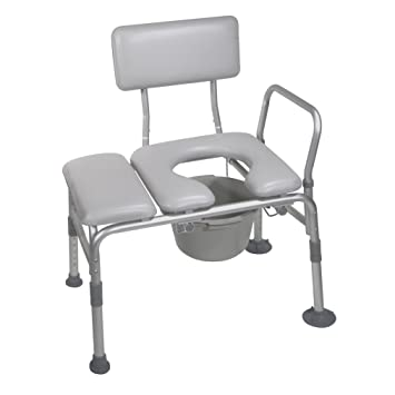 Swell Drive Medical Combination Padded Seat Transfer Bench With Commode Opening Gray Ibusinesslaw Wood Chair Design Ideas Ibusinesslaworg