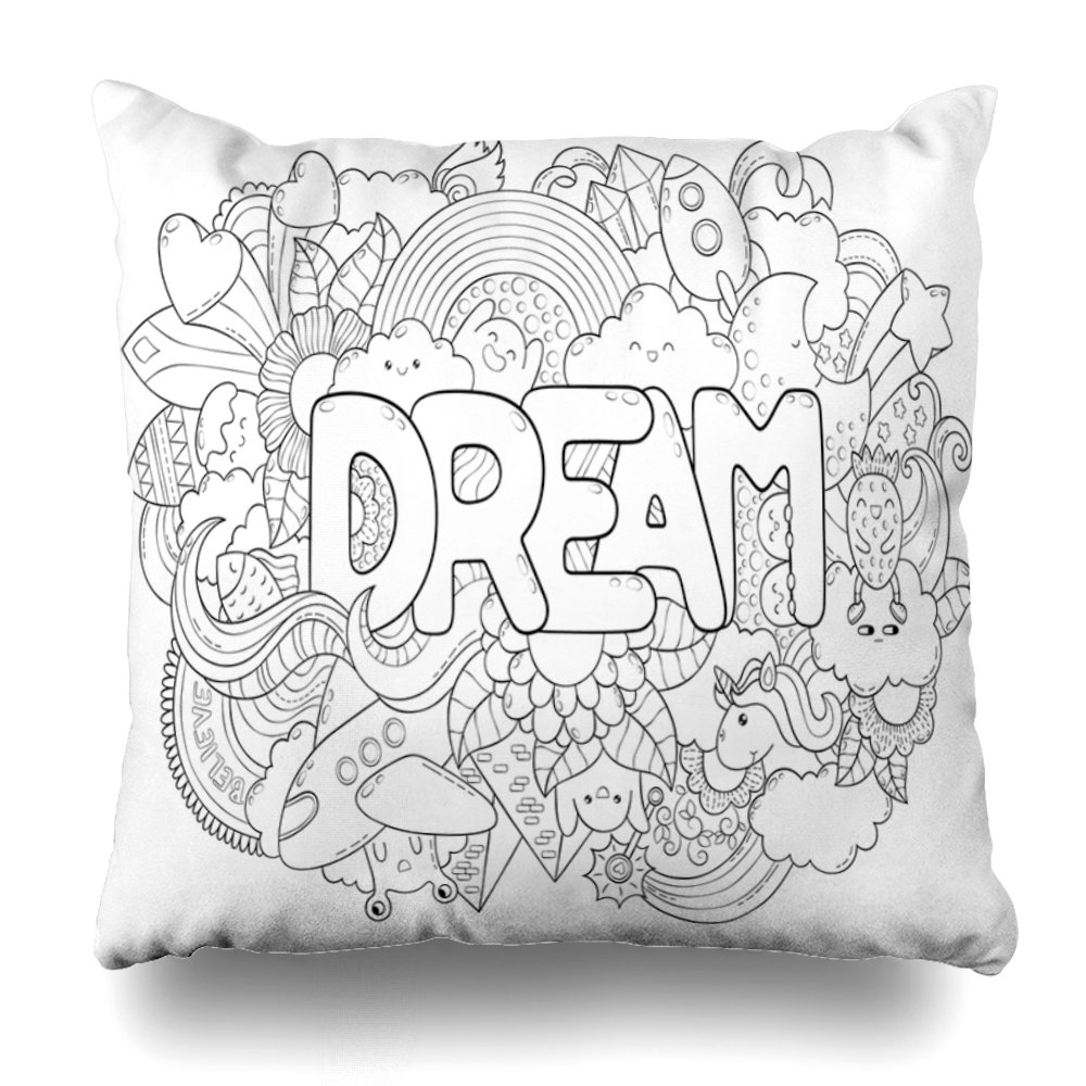Soopat Decorative Throw Pillow Cushion Cover 16X16 Abstract Dream Typography Advertising Banner Web Ing Clothes Set Cartoon Characters Doodle Decorative Home Decor