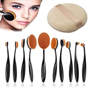 Yoshioe 10 Pcs Oval Toothbrush Makeup Brush Professional Soft Oval Makeup Brush Sets Foundation Brushes Cream Contour Powder Blush Liquid Foundation Makeup Brush Cosmetics Tool Set for Face for Face