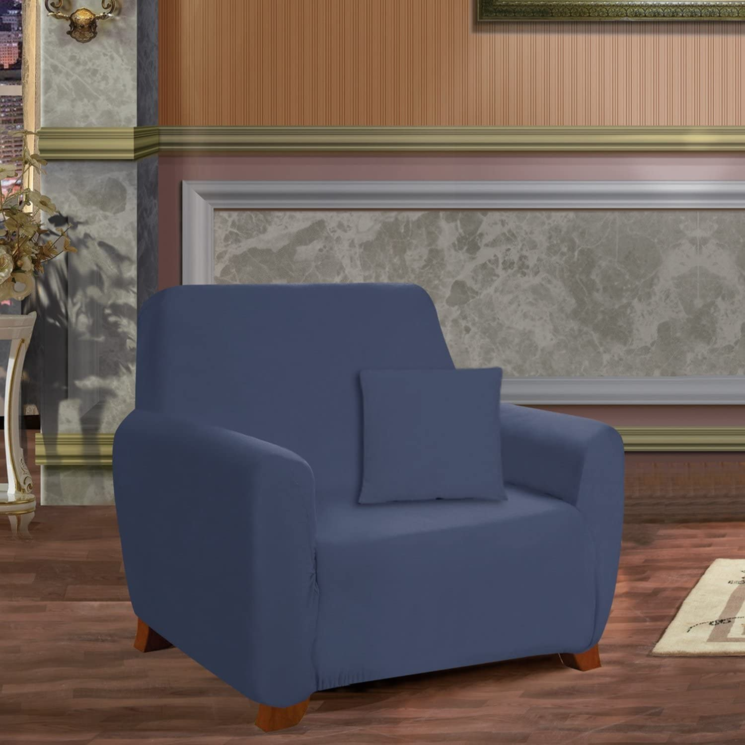 Elegant Comfort Luxury Furniture Protector Jersey Stretch SLIPCOVER, Chair Navy Blue