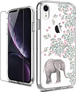 LUHOURI iPhone XR Case with Screen Protector,Clear TPU Bumper with Elephant Florals for Girls Women,Shockproof Slim Fit Protective Phone Case for iPhone XR