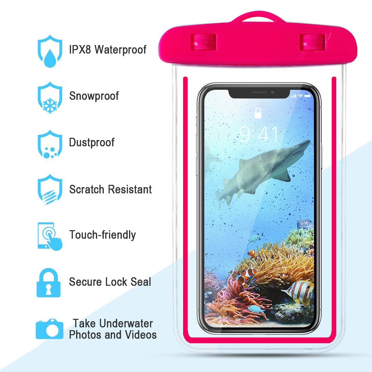 4-Pack Universal Waterproof Case,IPX8 Waterproof Phone Pouch Dry Bag for iPhone X/8/8plus/7/7plus/6s/6/6s plus Samsung galaxy s8/s7 Google Pixel HTC10 (Blue) by Banter (Image #4)