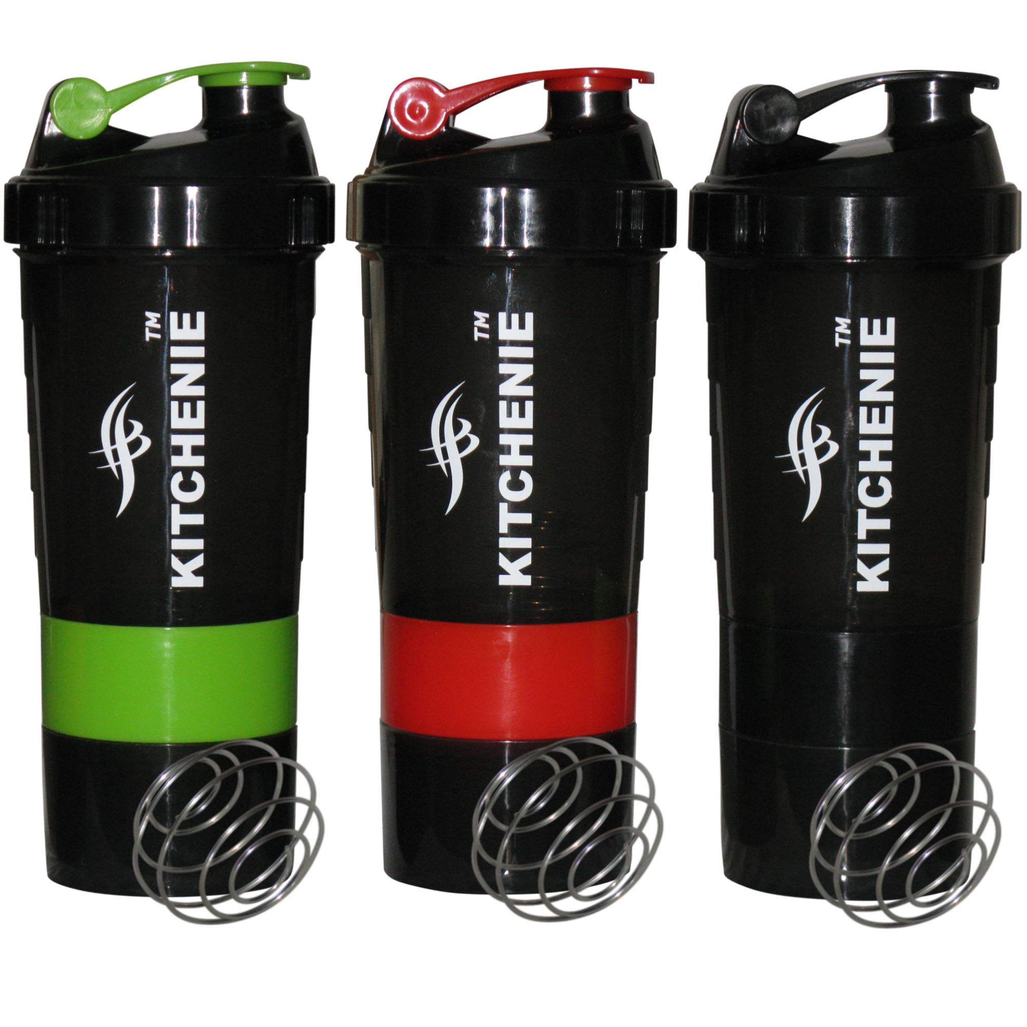 Protein Shaker Bottle BPA Free-3 Pack-Easy Grip-Leak Proof Flip Cap-Stainless Steel Ice Shaker Ball, 20 Oz Drink Shaker Cup, +2 Twist-on Cups on Each Bottom for Powder & Capsule Organizer by KITCHENIE