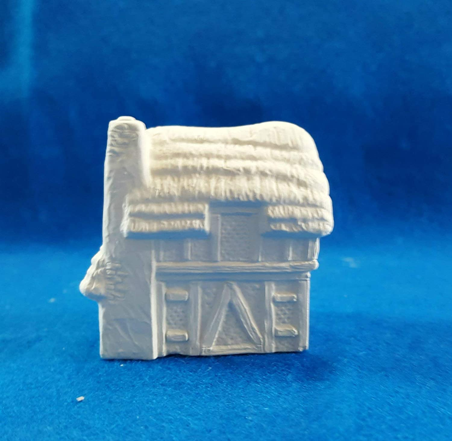 Thatch Roof Tudor with V door Mini House #4 unpainted ceramic bisque ready to be painted