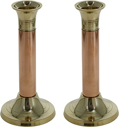 ShalinIndia Flower Bud Vase Set of 2 Brass Copper Home Accessories for Living Room 6 Inch
