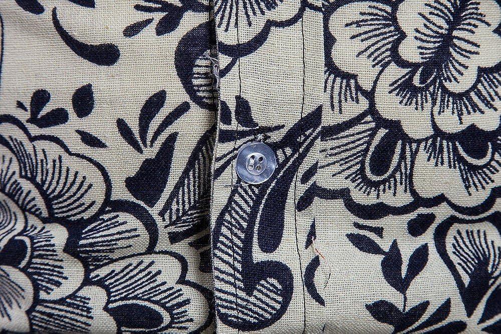 Balakie Plus Size Mens Blouse Boho Floral Printed Button Linen Basic T Shirt Top