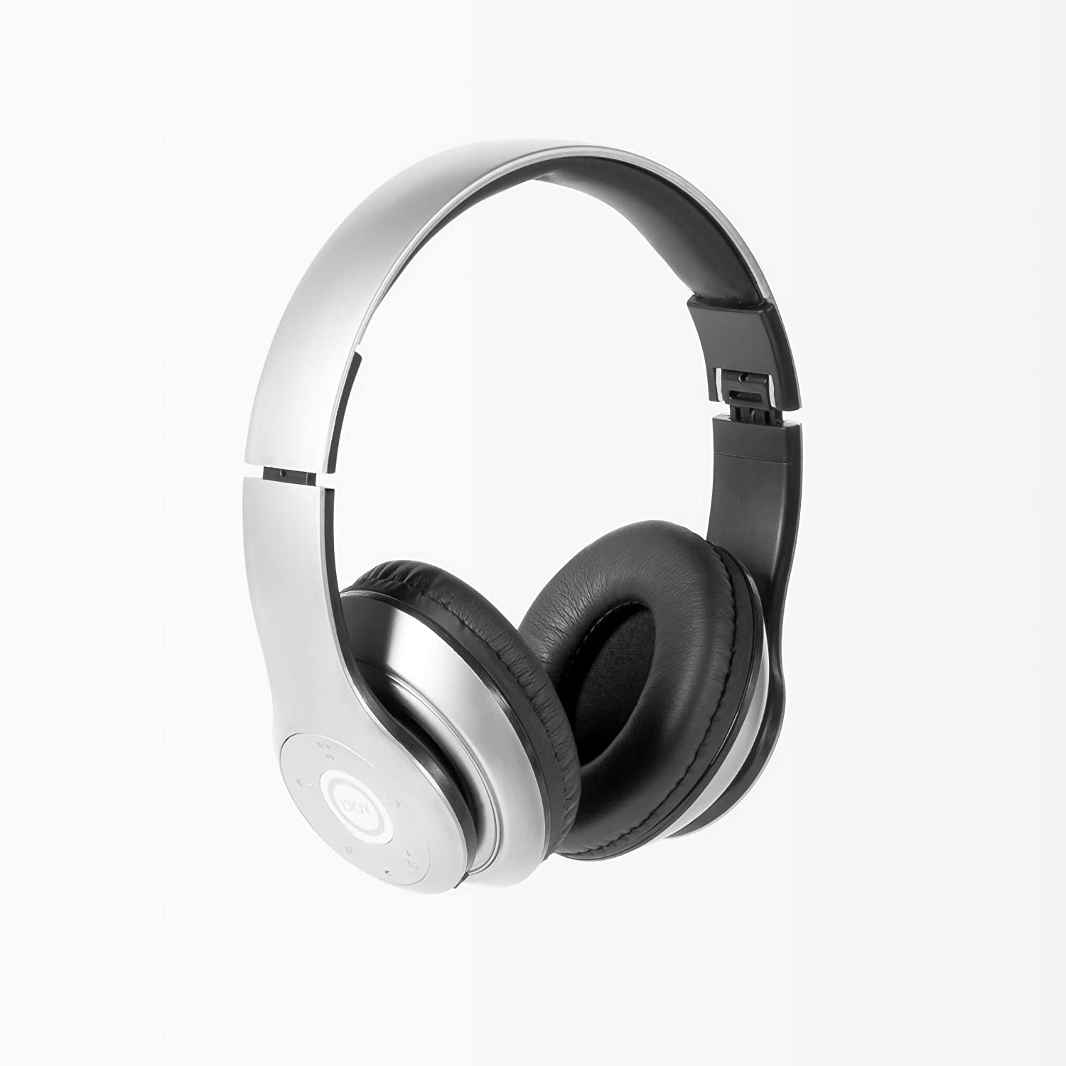 iJoy Matte Rechargeable Wireless Bluetooth Foldable Over Ear Headphones with Mic (SLV)
