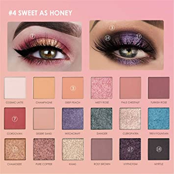 Amazon.com : Glitter Eyeshadow 18 Colors Pigment Eye Shadow Palette Waterproof Easy To Wear Shimmer Make Up Sweet as Honey : Beauty