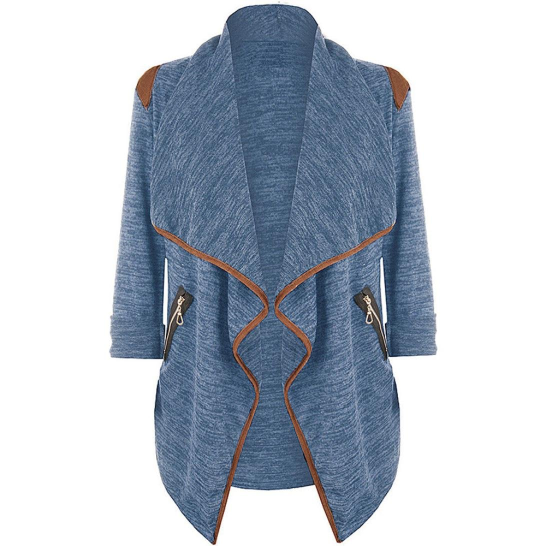 Outsta Womens Knitted Casual Long Sleeve Tops Cardigan Jacket Outwear Plus Size (L2, Blue)