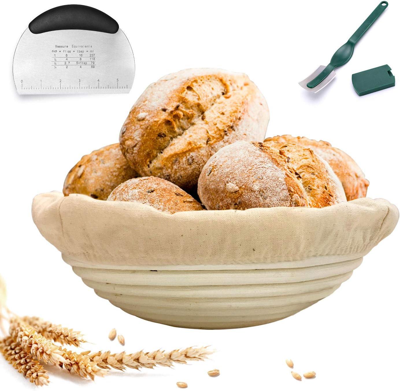 Round Banneton Proofing Bread Basket Brotform for Bread Sourdough Dough with Liner + Dough Scraper + Lame, Sourdough Baking Set for Making Artisan Homemade Bread (9.8inch)