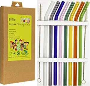 """Reusable Glass Straws Set, Multiple Colored Borosilicate Glass BPA and Lead Free Healthy Eco Friendly Drinking Straws, 8.5""""x8mm, Pack of 8 with 2 Cleaning Brushes (Multiple Color)"""