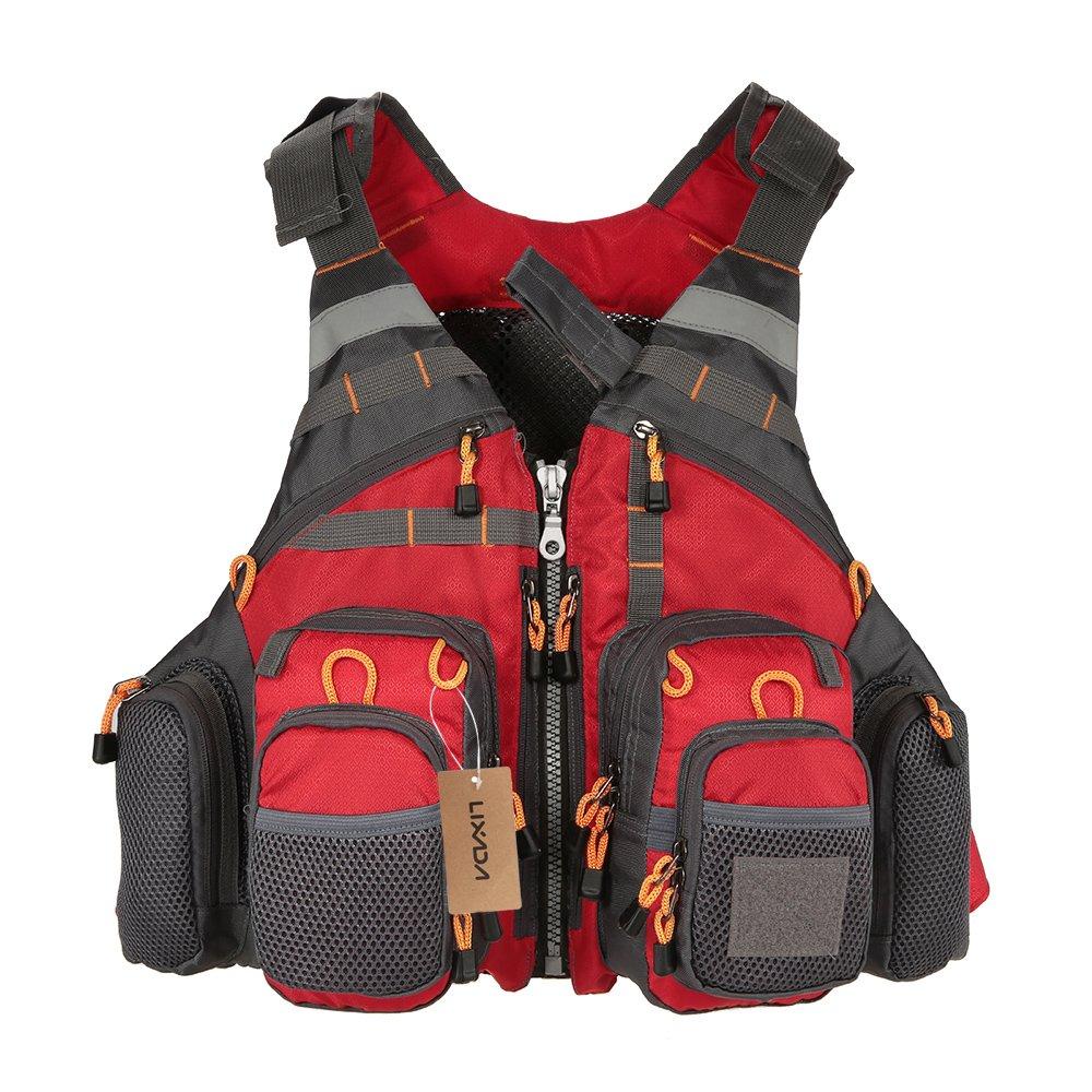 Lixada Fly Fishing Vest-Fishing Safety Life Jacket Breathable Polyester Mesh Design Fishing Vest for Swimming Sailing Boating Kayak Floating