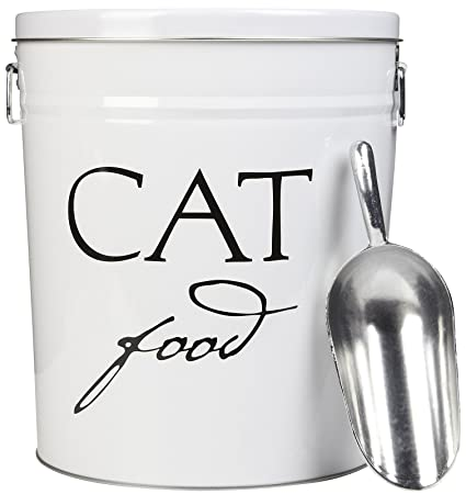 Charming Harry Barker Cat Food Storage Can   White   3.5 Gallon