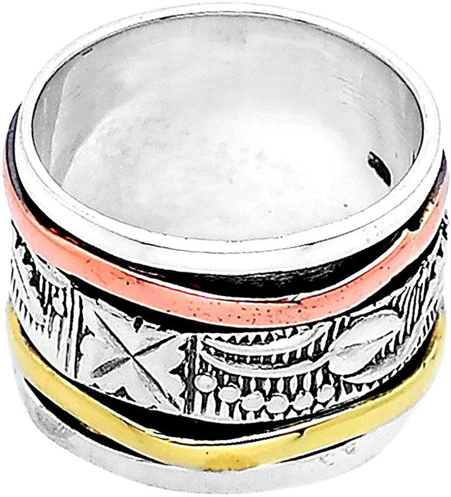 Desiregem Anti Anxiety and Worry Less Spinner Ring Spinning Size DGR1025 8.5