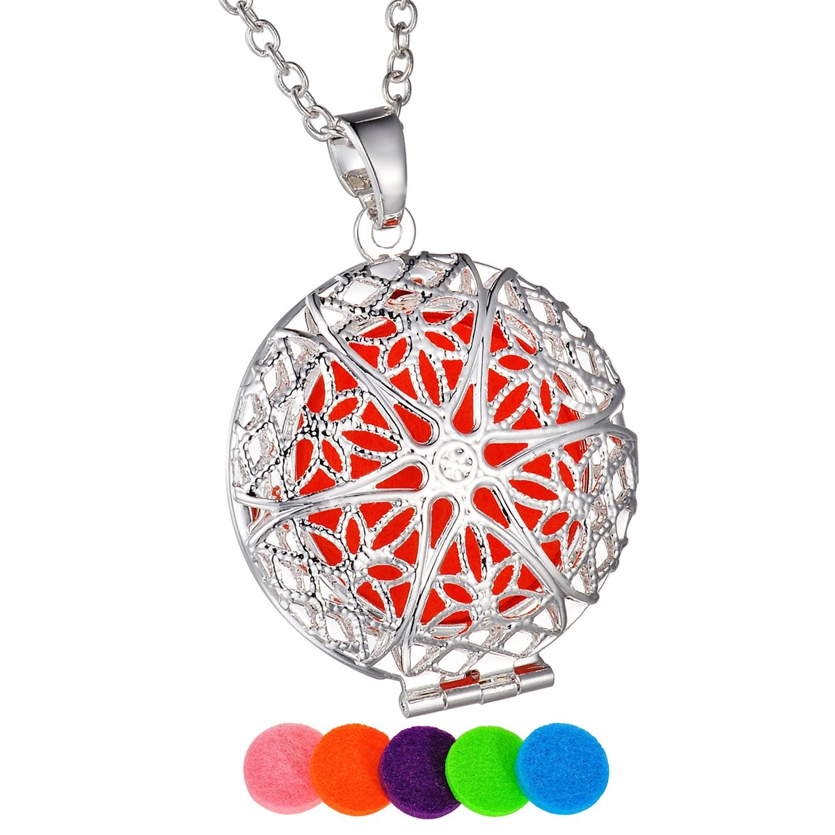 HooAMI Flower Aromatherapy Essential Oil Diffuser Necklace Pendant Locket Jewelry TY UPIE10683