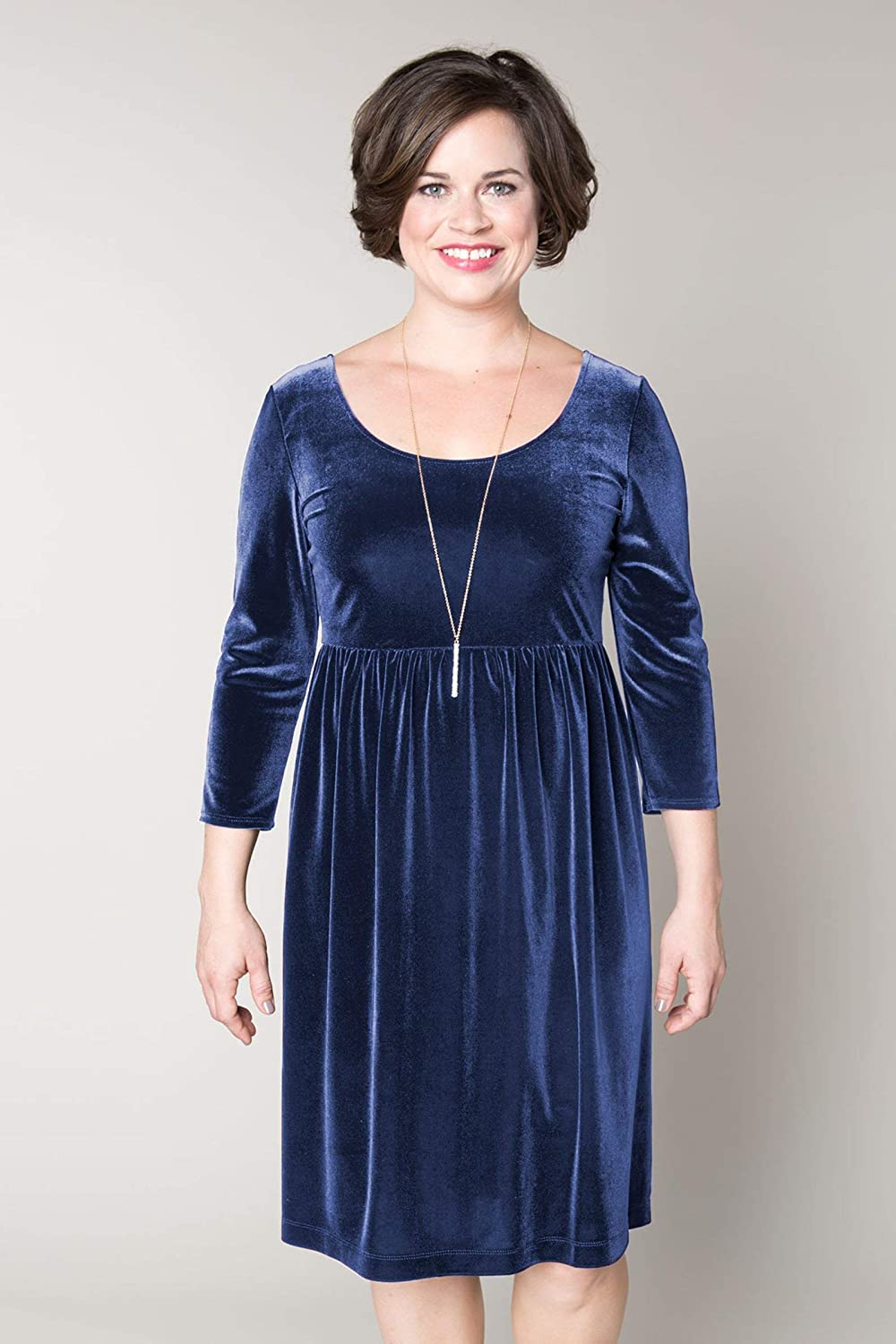 Velvet Empire Waist Dress Comfortable Luxurious Customizable Design Details and Sizing