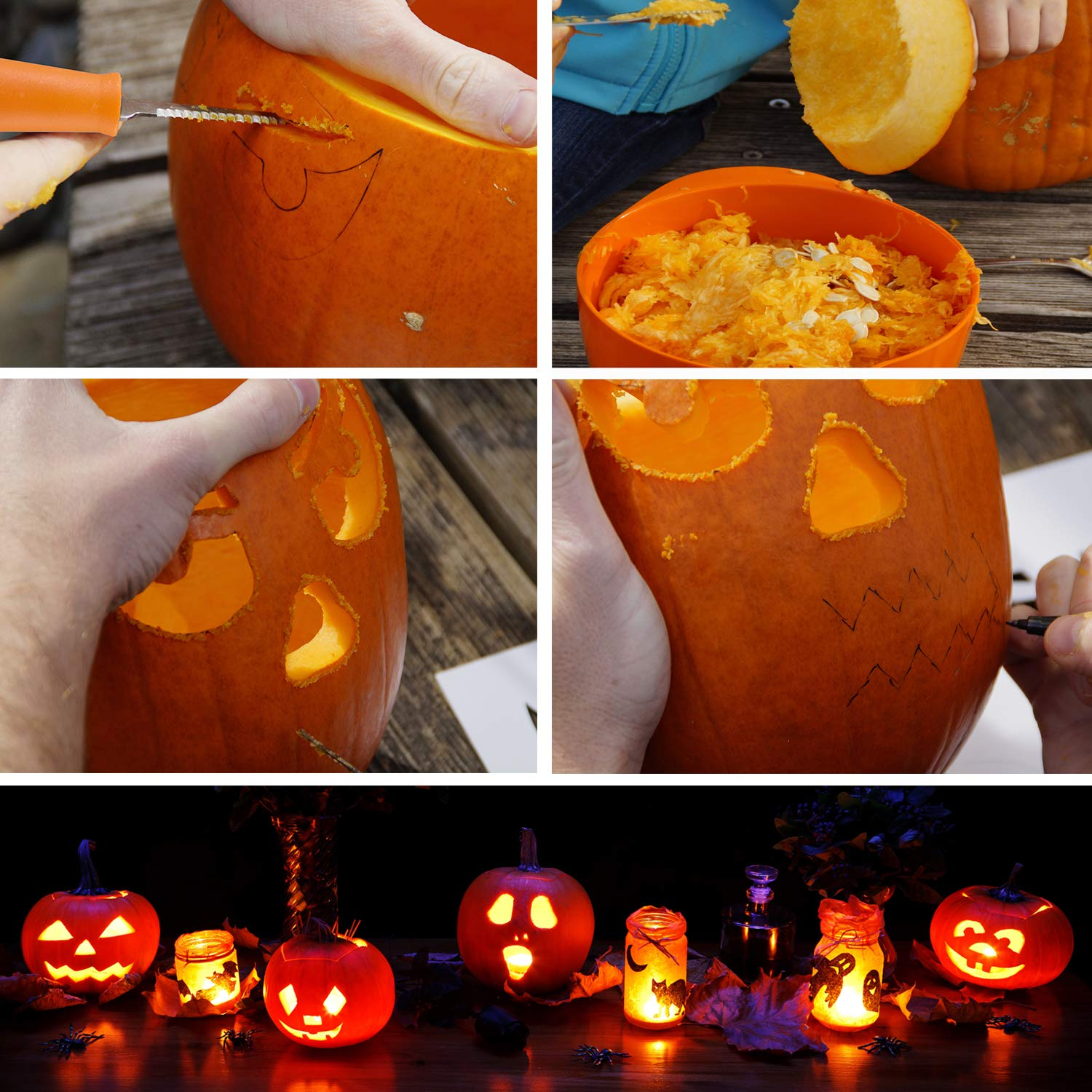 Pumpkin Carving Kit, 4 Pieces Heavy Duty Stainless Steel Pumpkin Carving Tools with 10 Carving Stencils, Ergonomic Design, Perfect for Adult and Children Halloween Decoration by Fantech (Image #2)